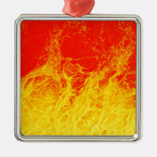 Burning red and yellow fire Silver-Colored square decoration