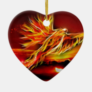 Burning Red Flying Phoenix Garden of Tarot Christmas Ornament