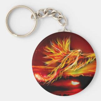 Burning Red Flying Phoenix Garden of Tarot Key Ring