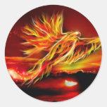 Burning Red Flying Phoenix Garden of Tarot Round Sticker