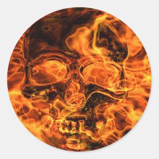 Burning skull round stickers