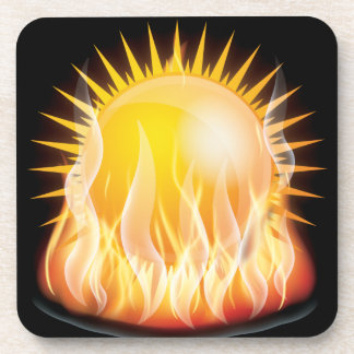 BURNING SUN VECTOR HOT TATTOO GRAPHICS TOUGH BEVERAGE COASTERS