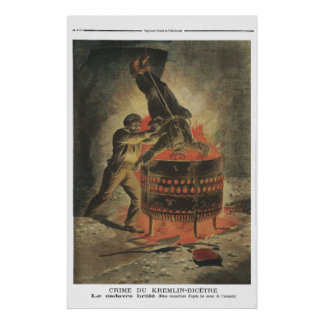 Burning the corpse - 1897 French newspaper print