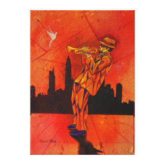 Burning the trumpet! canvas print
