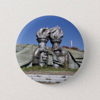 Burning torch sculpture Buzludzha monument 6 Cm Round Badge
