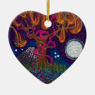 Burning Tree with Moon and Ribbon Christmas Ornament