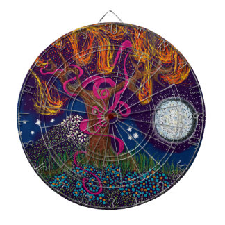 Burning Tree with Moon and Ribbon Dartboard
