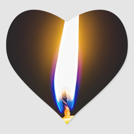 Burning wax candle heart sticker
