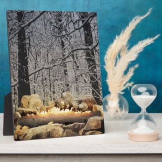 Burning Yule Log Plaque