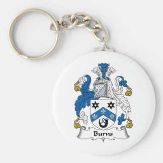 Burns Family Crest Basic Round Button Key Ring