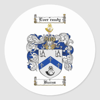 BURNS FAMILY CREST -  BURNS COAT OF ARMS ROUND STICKER