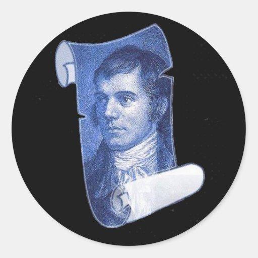Burns Portrait Round Stickers