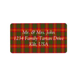 Burns Tartan Label Address Label
