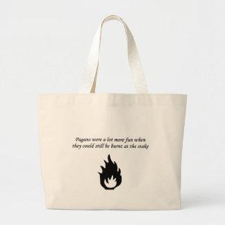 burnt at the stake jumbo tote bag