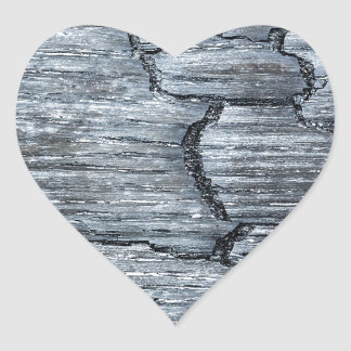Burnt black wood heart sticker