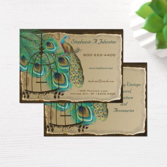 Burnt Edges Vintage Peacock Feathers Birdcage Business Card
