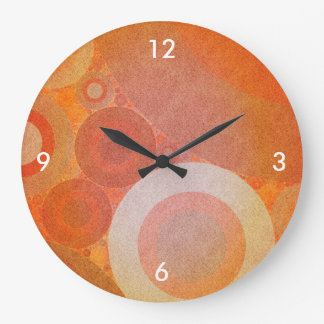 Burnt Faded Orange Retro Pattern Large Clock