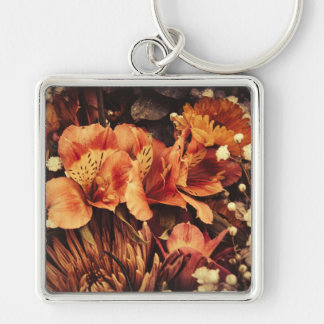 Burnt Flowers Silver-Colored Square Key Ring