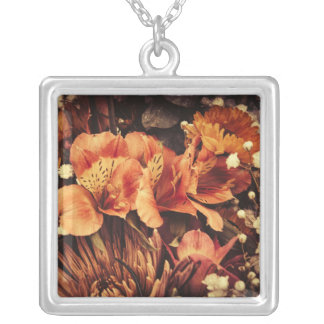 Burnt Flowers Silver Plated Necklace