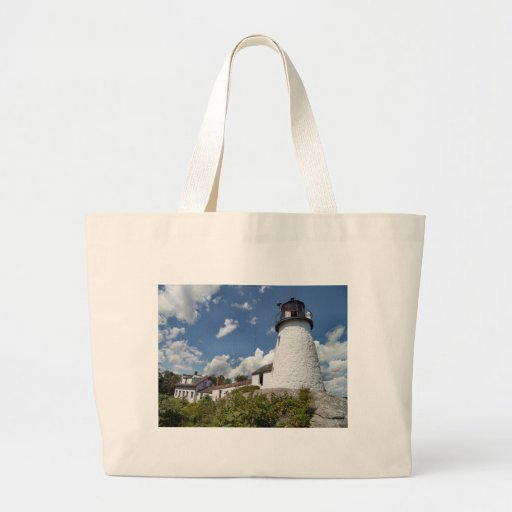 Burnt Island Light, Maine Canvas Bags