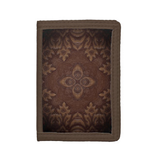 Burnt Leather Wallet with Design