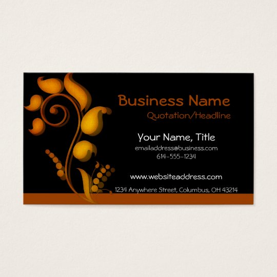 Burnt Orange Accent on Black Business Cards