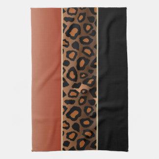 Burnt Orange and Black Leopard Animal Print Tea Towel