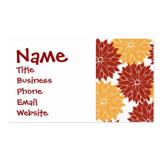 Burnt Orange and Orange Flower Blossoms Floral Pack Of Standard Business Cards