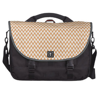 Burnt Orange and White Chevron Stripes Laptop Bag