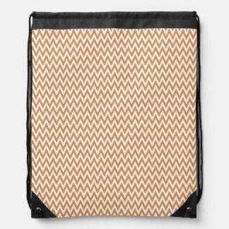 Burnt Orange and White Chevron Stripes Drawstring Bag