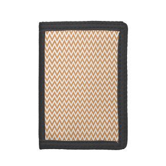 Burnt Orange and White Chevron Stripes Tri-fold Wallet