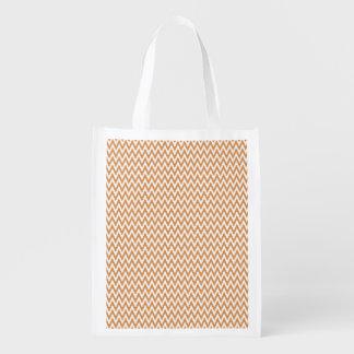Burnt Orange and White Chevron Stripes Grocery Bags