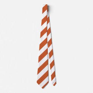 Burnt Orange and White Diagonally-Striped Tie