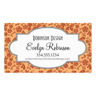 Burnt Orange and Yellow Orange Tropical Floral Business Cards