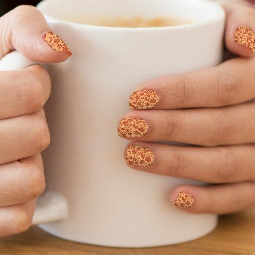 Burnt Orange and Yellow Orange Tropical Floral Minx ® Nail Art