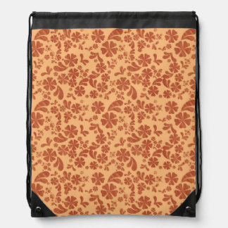 Burnt Orange and Yellow Orange Tropical Floral Cinch Bags