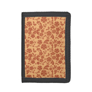 Burnt Orange and Yellow Orange Tropical Floral Tri-fold Wallets