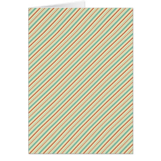 Burnt Orange Aqua Diagonal Stripes Fall Pattern Greeting Card