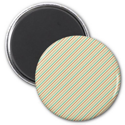Burnt Orange Aqua Diagonal Stripes Fall Pattern Refrigerator Magnets