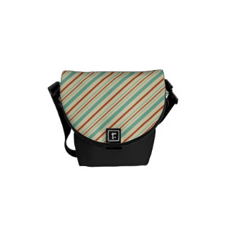 Burnt Orange Aqua Diagonal Stripes Fall Pattern Messenger Bag