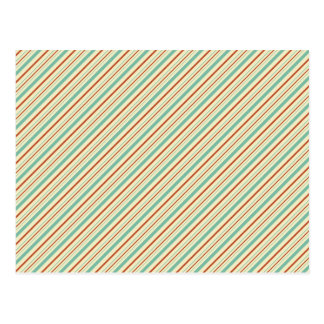 Burnt Orange Aqua Diagonal Stripes Fall Pattern Postcard