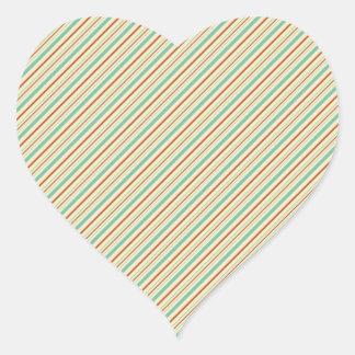 Burnt Orange Aqua Diagonal Stripes Fall Pattern Heart Sticker