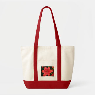burnt orange asiatic lily tote bag