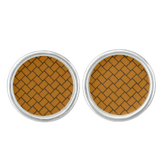 Burnt Orange Basket Weave 2 Cuff Links