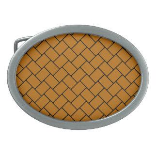 Burnt Orange Basket Weave 2 Oval Belt Buckles