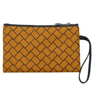 Burnt Orange Basket Weave 2 Wristlet Purse