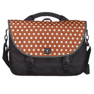 Burnt Orange - Brown and White Polka Dots Laptop Shoulder Bag