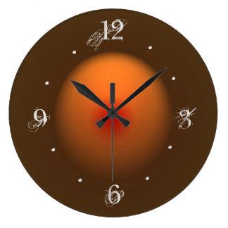 Burnt Orange/Brown Illuminated Design Wall Clock