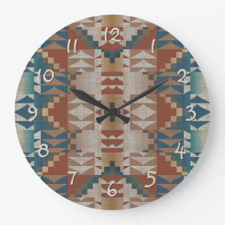 Burnt Orange Brown Teal Blue Eclectic Ethnic Look Large Clock