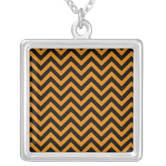 Burnt Orange Chevron 2 Square Pendant Necklace